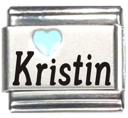 Kristin Light Blue Heart Laser Name Italian Charm Link