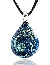 Hand Blown Venetian Murano Glass Glitter Blue Sea Wave Teardrop Pendant Necklace, 17-19 inches