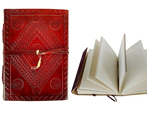 Rastogi Handicrafts Leather Journal Notebook Both Side Embossed 110X165 Mm Handmade Paper Diary 18X13 Cm