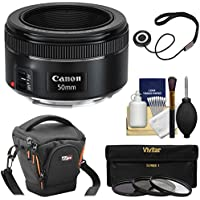 Canon EF 50mm f/1.8 STM Lens with Case + 3 UV/CPL/ND8 Filters + Kit for EOS Digital SLR Cameras