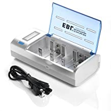 EBL Universial Fast Battery Charger LCD Smart Individual Charger with Discharge Function for AA AAA C D 9V Ni-MH Ni-CD Rechargeable Batteries