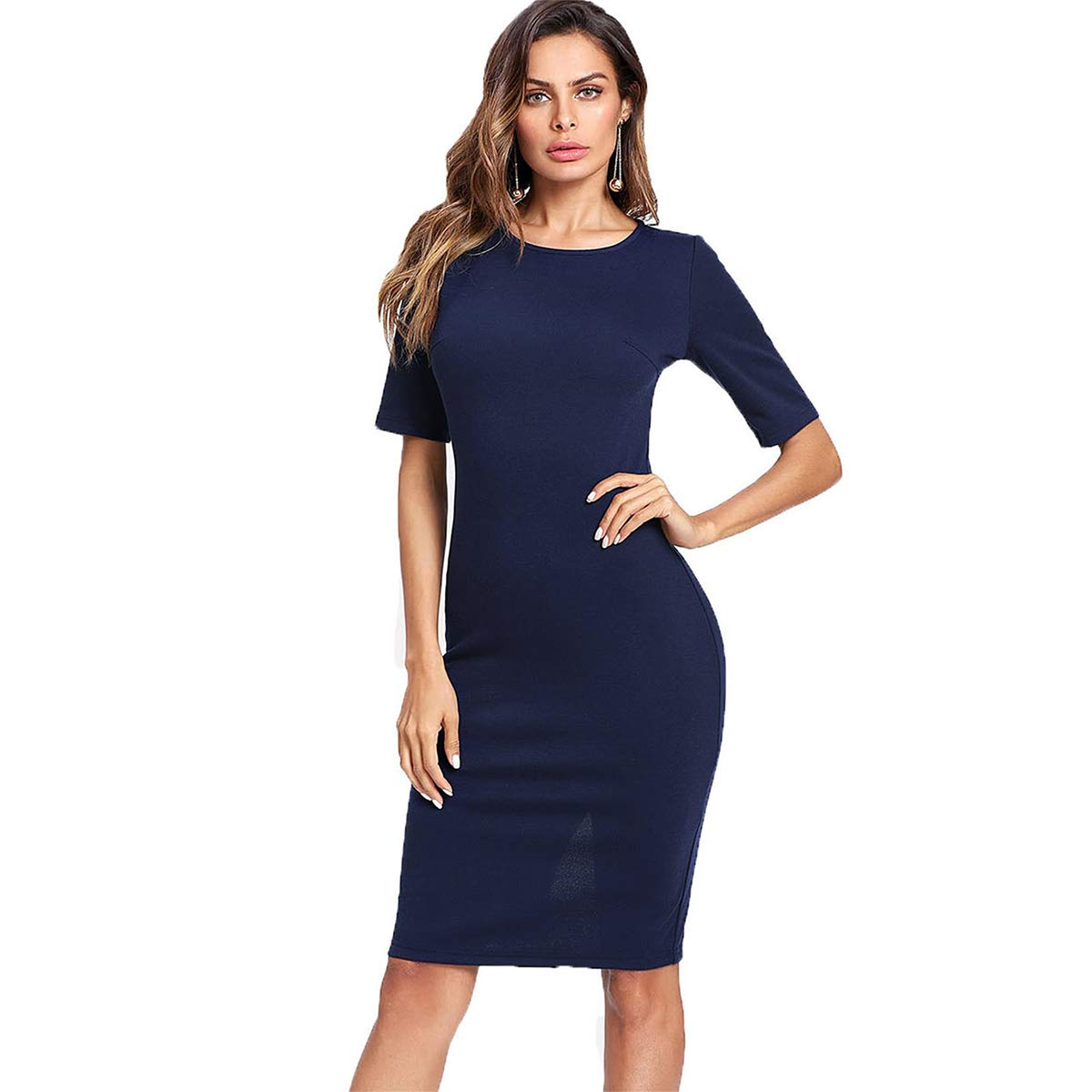 Navy SheIn Women's Short Sleeve Elegant Sheath Pencil Dress