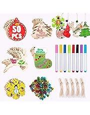 Joyjoz Christmas Wooden Ornaments 50 Pcs+8 Markers+60 Jingle Bells, DIY Christmas Tree Decorations For Home Xmas Hanging Ornaments Kids Crafts