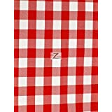 "CHECKERED GINGHAM 100% POLYESTER POPLIN FABRIC - Red - 57""/59"" WIDTH SOLD BY THE YARD"