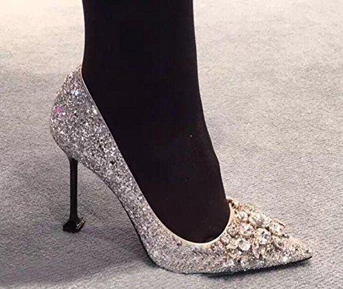 Xue Qiqi Court Schuhe Weibliches Geldstrafe der Hohen Absätze mit Weiblicher Silberner Rhinestonehochzeit der Spitzen Einzelnen Schuhe Weiblicher Beschuht Hochzeitsschuhe Weiblich 34 Reines Silber