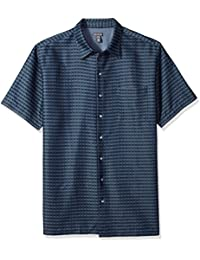 Men's Big and Tall Short Sleeve Rayon Poly Engineered Panel Shirt