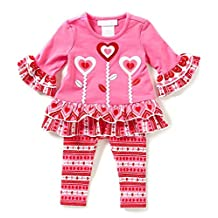 Bonnie Baby Girls First Valentine's Day Sequin Heart Leggings Set (0m-24m) (24 m)