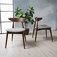 Christopher Knight Home 299972 Barron Dining Chair Set, Light Grey/Walnut