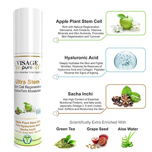 Visage Pure - Ultra Stem Regenerative Moisturizer - Organic - Physician Formulated - Research Supported -Natural Extra Strength Stem Cell Moisturizer. Prevents Superficial Wrinkles and Deep Skin Aging