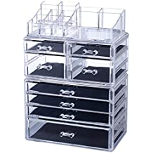 Homde X-Large Acrylic Makeup Organizer Jewelry & Cosmetic Storage Case Desk Organizer for Office Counter Dresser Bathroom