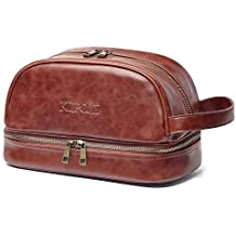 KIPOZI PU Leather Travel Bag,Shaving Dopp Kit bag for Man,Toiletry Bag Waterproof Travel Kit Bag for Business Trips,Vacations,Outdoor Sport