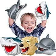 Geyiie Shark Hand Puppets, Kids Hand Puppets Toys Realistic Action Figures Shark Dolphin Soft Rubber Puppets,