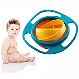 OFKP® Baby Rotate Spill-proof Bowl Funny Kids 360 Dgree Rotation Gyroscope Trainning Tableware With Lid Blue and Orange