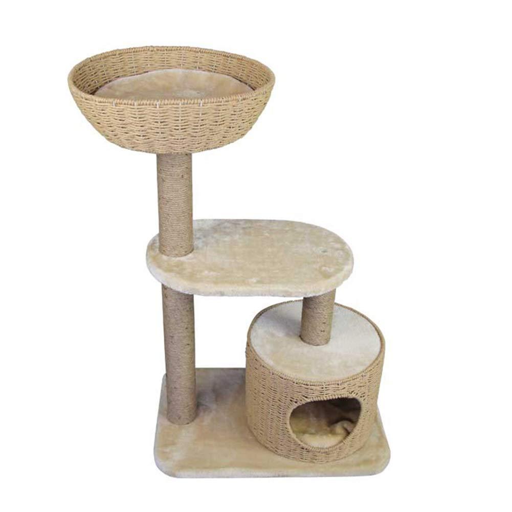 BeigeA-60X41X96cm SHIJINHAO Cat Tree Sisal Weaving House 3 Layers Climbing Frame Scratch Cozy Stable Furniture, 2 colors (Size   BeigeA-60X41X96cm)