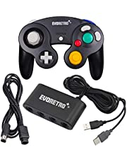 Black Controller, Extension Cable and Adapter Set – Compatible with Gamecube, Switch, PC, and Wii U by EVORETRO
