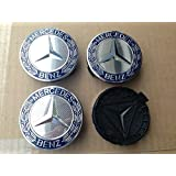 MERCEDES AMG SET OF 4 Black Chrome CENTER WHEEL HUB CAPS 75 MM COVER EMBLEM