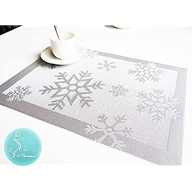 Rimobul Winter Snowflake Woven Vinyl Placemats, Set of 4 (Snow-Silver Gray)