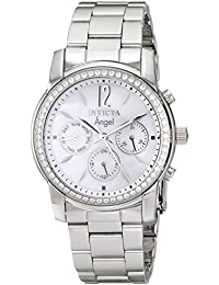 Womens 11768 Angel Crystal Accented Mother-Of-Pearl Dial Stainless Steel Watch