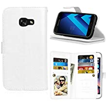 Galaxy A5 2017 Case,Galaxy A5 2017 Wallet Case, Abtory Magnetic Closure PU Leather [9 Card Slot] [Stand Feature] Folio Flip Wallet Protective Phone Case for Samsung Galaxy A5 2017/A520 White