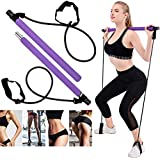 OZMI Portable Pilates Bar Kit with Exercise Resistance Band, Exercise Pilates Bar with Foot Loop Toning Bar for Home Gym Workout, Total Body Workout, Yoga, Fitness, Stretch, Sculpt (Purple)
