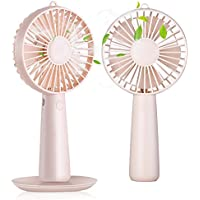 RioRand Handheld Mini Fan with Magnetic Makeup Mirror Desk Fan Portable 1200mAH USB Rechargeable 3 Speed Fan for Indoor and Outdoor activities(Pink)