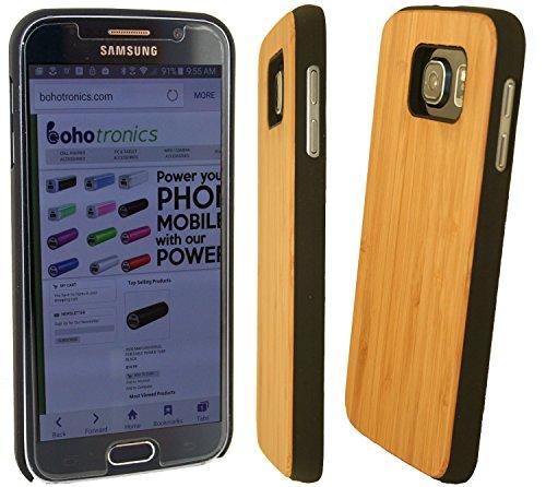 Boho Tronics Bohobamboocases Natural Handmade Hardwood Bamboo Black Hard Case for Samsung Galaxy S6