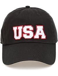 dc0367de9cc USA American Flag Embroidered 100% Cotton Adjustable Strap Baseball Cap Hat