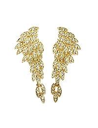 LARGE Angel Wings Eagle Wings Rhinestone Studded Statement Earrings Gold Black Dangling Earrings Wedding Bridal Prom Chandelier Long Drop Earrings for Women