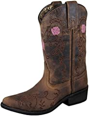 Smoky Mountain Children's Rosette Pull On Embroidered Floral Snip Toe Brown Oil Distress B
