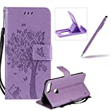 Strap Leather Case for Huawei P Smart,Bookstyle Magnetic [Light Purple Solid Color] Stand Flip Case for Huawei P Smart,Herzzer Premium Elegant Butterfly Tree Cat Print Fold Wallet Folio Smart Case For Huawei P Smart + 1 x Purple Cellphone Kickstand + 1 x Purple Stylus Pen