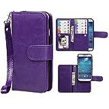 Samsung S4 Case,xhorizon TM SR Premium Leather Folio Case[Wallet Function][Magnetic Detachable]Wristlet Lanyard Flip Book Style Multiple Card Slots Case for Samsung Galaxy S4 (I9500)-Purple