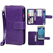 Samsung S4 Case,xhorizon TM SR Premium Leather Folio Case[Wallet Function][Magnetic Detachable]Wristlet Lanyard Flip Book Style Multiple Card Slots Case for Samsung Galaxy S4 (I9500)-Purple