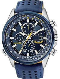 Citizen #AT8020-03L Men's Eco Drive Blue Angels Leather Band Atomic Radio Controlled Chronograph Watch