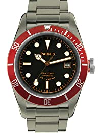 Sapphire Parnis 41mm Black Dial Red Bezel 100m Water Resistance 24 Jewels Miyota 9015 Automatic Movement Men's...