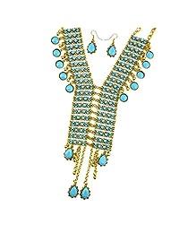 SunniMix Ethnic Style Jewelry Sets Vintage Rhinestone Bib Collar Earrings Necklace Set