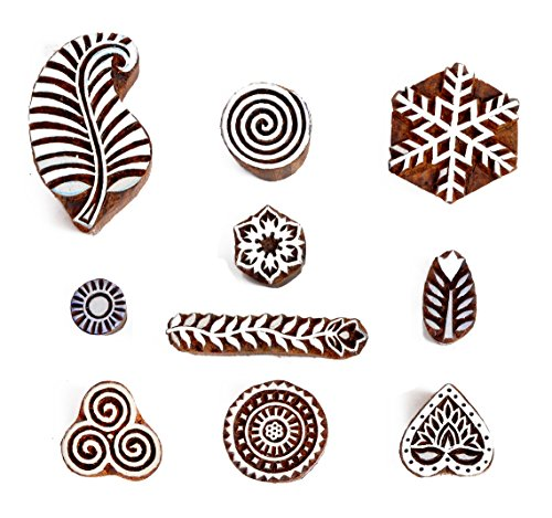 Hashcart Baren for Block Printing Stamps/Wooden Stamping Block/Handcarved Designer Craft Printing Pattern for Saree Border,Henna/Textile Printing,Scra…