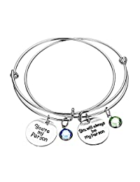 WUSUANED You're My Person Bracelet Pinky Promise Charm with Birthstone Expandable Wire Bangle