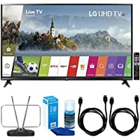 LG 65UJ6300 - 65 Super UHD 4K HDR Smart LED TV (2017 Model) w/ TV Cut The Cord Bundle Includes, Durable HDTV & FM Antenna, 2x 6ft. High Speed HDMI Cable & Screen Cleaner for LED TVs
