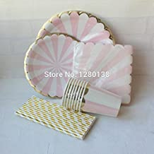 MH-RITA Pink Gold Foil Beverage Paper Party Cups Straws Dinner Plates Napkins Pink Striped Cocktail Party Supply Tableware
