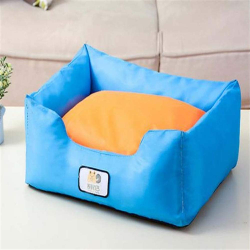 M Wuwenw Oxford Cloth Square Dog Bed Removable And Washable Cute Pet Sofa Cushion Quality Waterproof Cat Litter Puppy Bed bluee,M