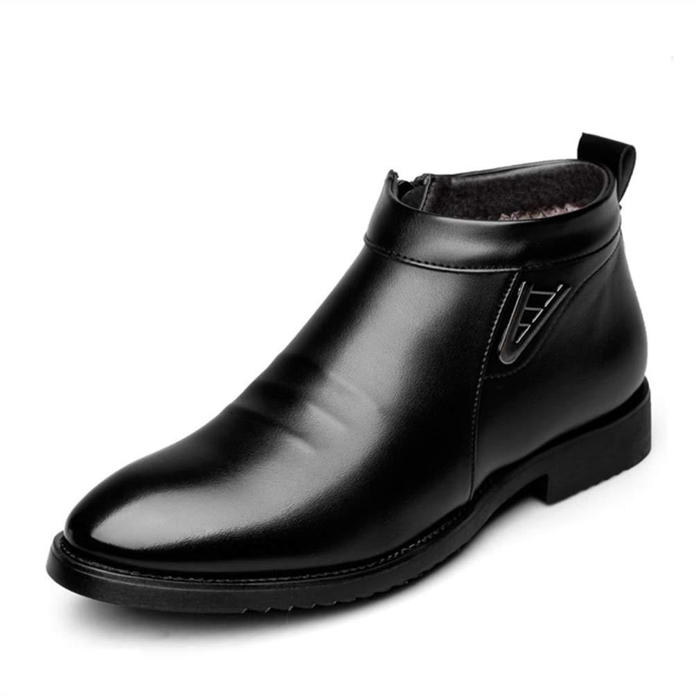 Qianliuk Herbst Winter Vlevet Retro Männer Stiefel Komfortable Reißverschluss Freizeitschuhe Split Leder Flache Outdoor Schnee Dressing Business Schuhe