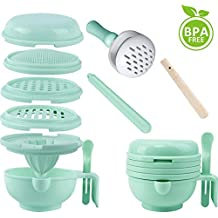 WINGOFFLY 9 in 1 Food Masher Maker Portable Baby Feeder Food Processor Smasher Serve Bowl Vegetables Fruit Ricer Grinder