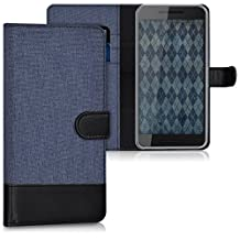 kwmobile Wallet case canvas cover for Huawei Google Nexus 6P - Flip case with card slot and stand in dark blue black
