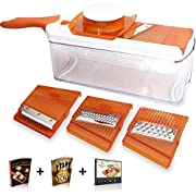 Amazon Lightning Deal 93% claimed: Adjustable Mandoline Slicer - 4 Blades - Vegetable Cutter, Peeler, Slicer, Grater & Julienne Slicer