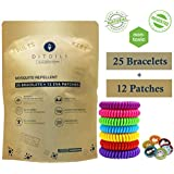 Mosquito Repellent Bracelet - 25 PCS | Bonus 12 EVA Patches | Natural, Deet Free, Bug Insect Bracelets for Adults, Kids | Waterproof Anti Mosquitoes