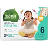 Seventh Generation Baby Diapers, Free and Clear for Sensitive Skin, Original No Designs, Size 6, 100