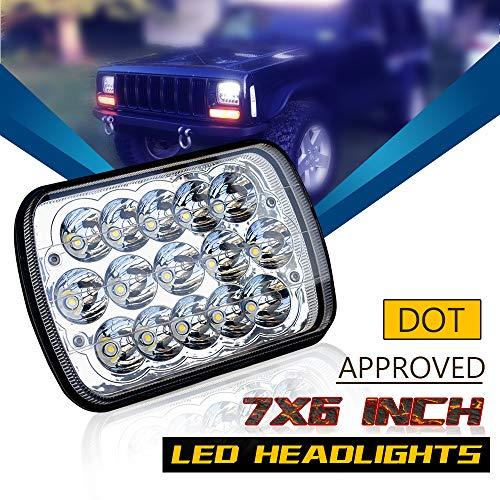 DOT Rectangular 5X7 7X6 Inch Led Hi/Lo Headlights Sealed Beam Replace H6054 H5054 Headlamps For Jeep Wrangler Cherokee Xj Yj Toyota Tacoma Suzuki Katana Kawasaki Chevy S10 Blazer Express Van Ford