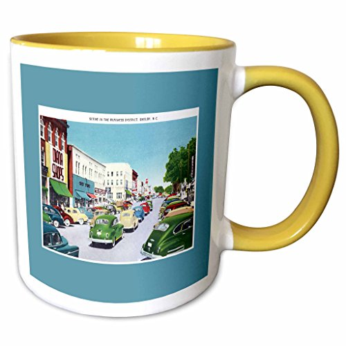 3dRose BLN Vintage US Cities and States Postcards - Scene in the Business District Shelby North Carolina with Antique Cars - 11oz Two-Tone Yellow Mug - Carolina Outlets In North