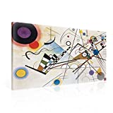 The Composition VIII by Kandinsky Shapes - Bauhaus Style canvas print is the perfect piece of wall art to decorate the walls of your home whether it's the living room, bedroom, bathroom or kitchen. The canvas is ready to hang right out of the box tha...