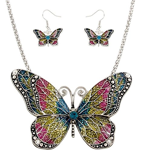 DianaL Boutique Amazing Exra Large Butterfly Necklace and Earrings Set Multicolor Enameled Gift Boxed Fashion Jewelry